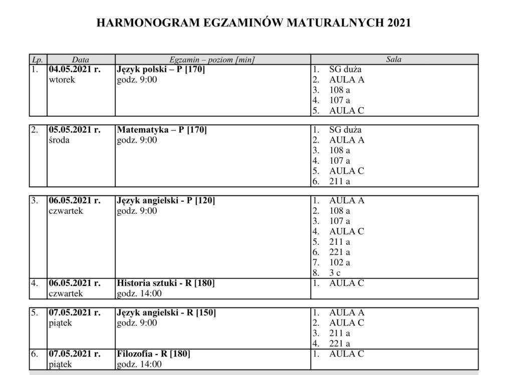 Harmonogram matur 201