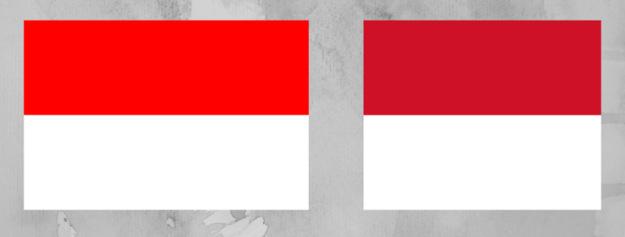 Porównanie flagi Polski i Indonezji