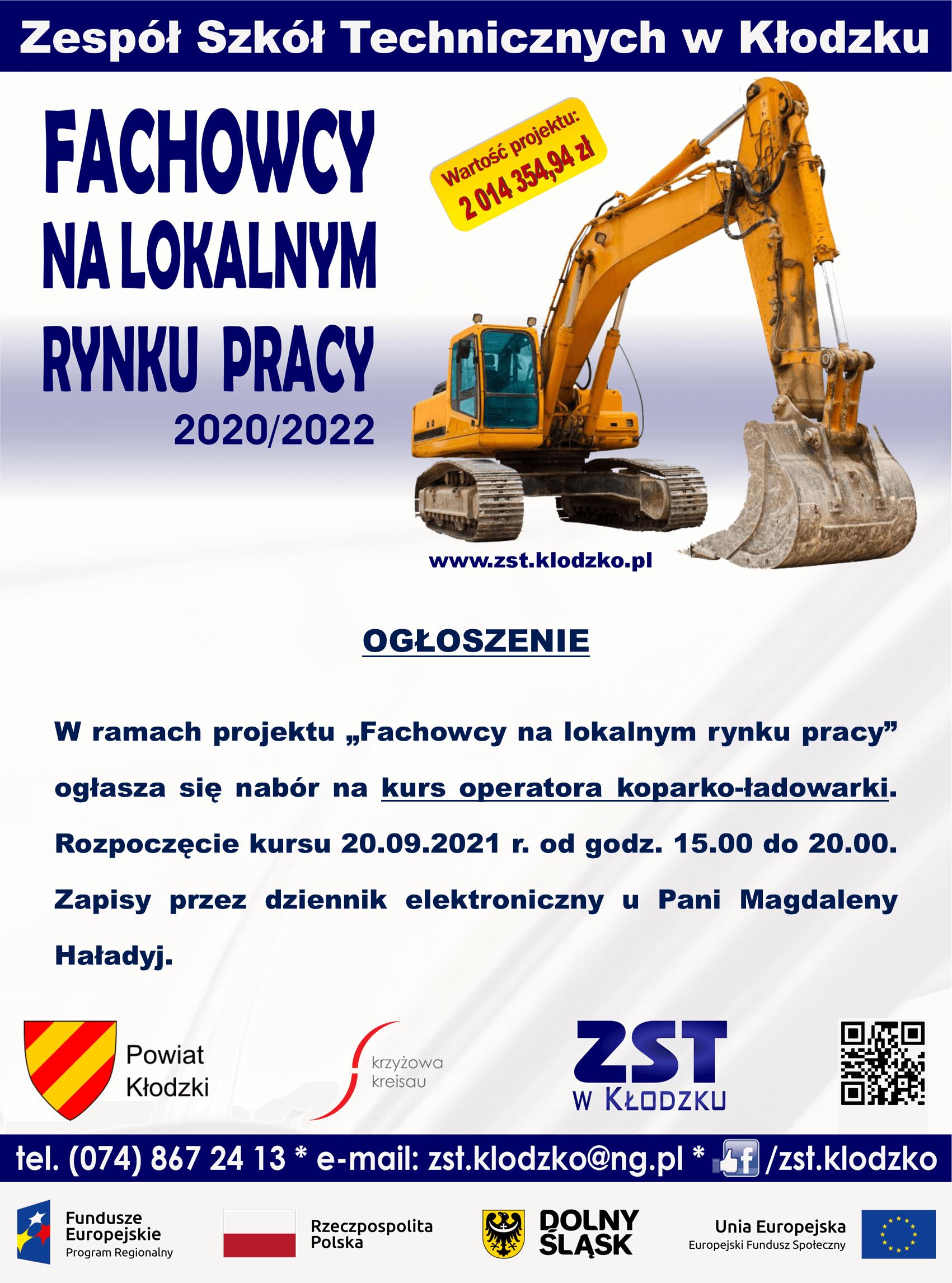 """Kurs operatora wkoparko-ładowarki w ramach projektu """"Fachowcy na lokalnym rynku pracy"""""""